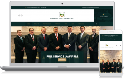 Cellphone and computer image of the Leventry Law Firm website homepage