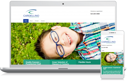 Cellphone and computer image of the Cardellino Eyecare website homepage