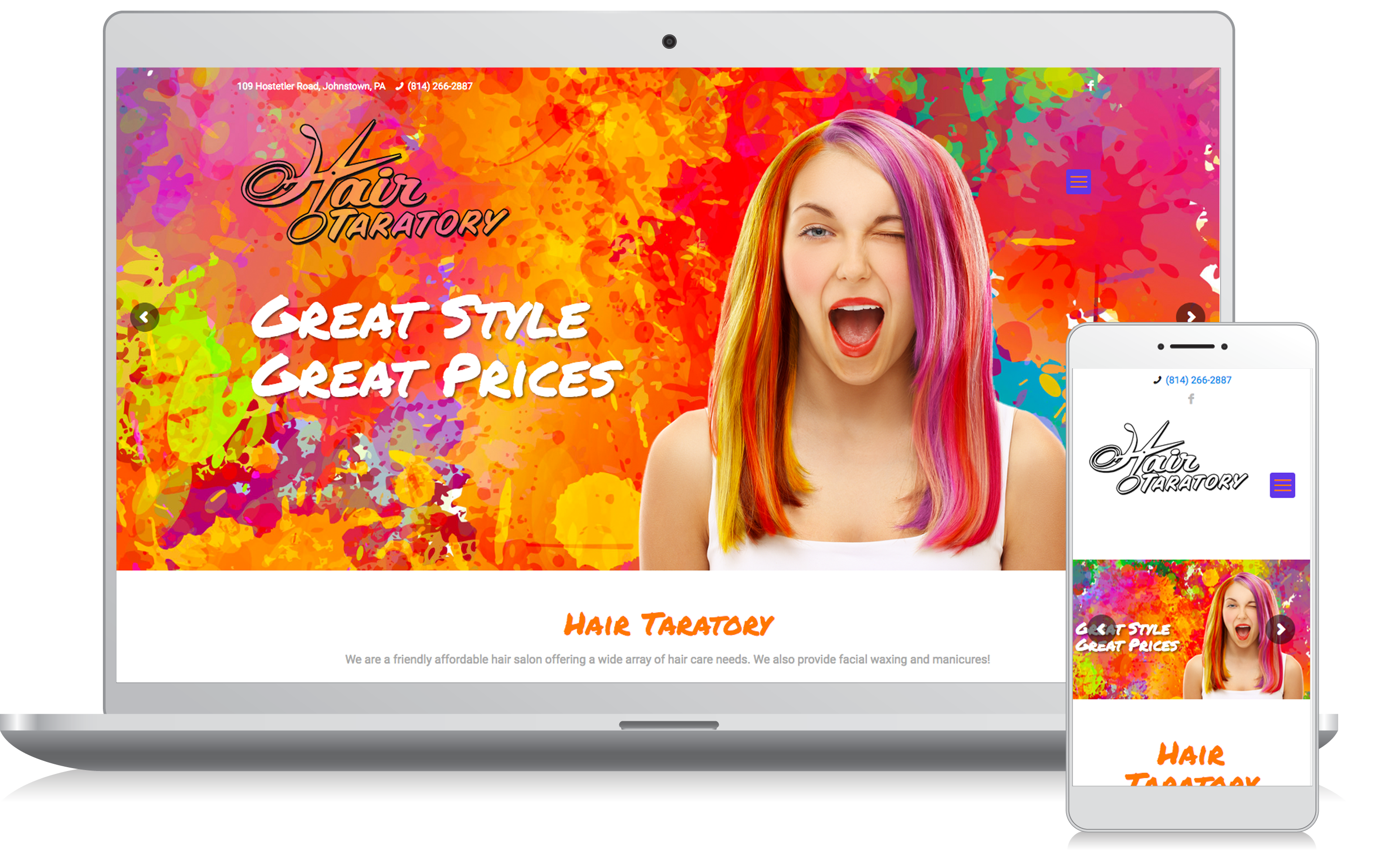 Cellphone and computer image of the Hair Taratory website homepage