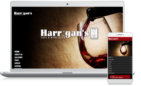 Cellphone and computer image of the Harrigan's Cafe website homepage