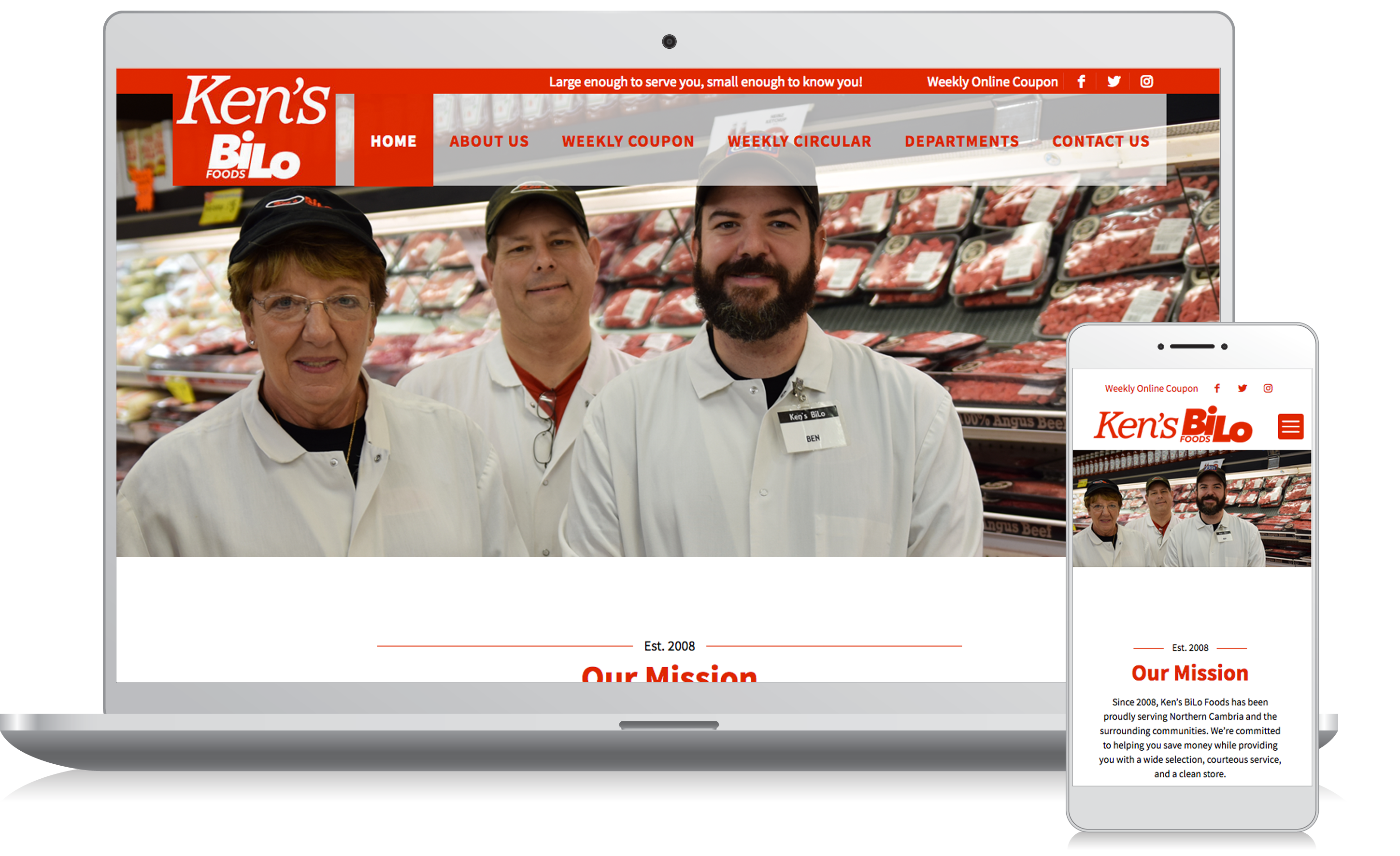 Cellphone and computer image of the Ken's Bilo website homepage