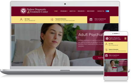 Cellphone and computer image of the Nulton Diagnostic Treatment Center website homepage