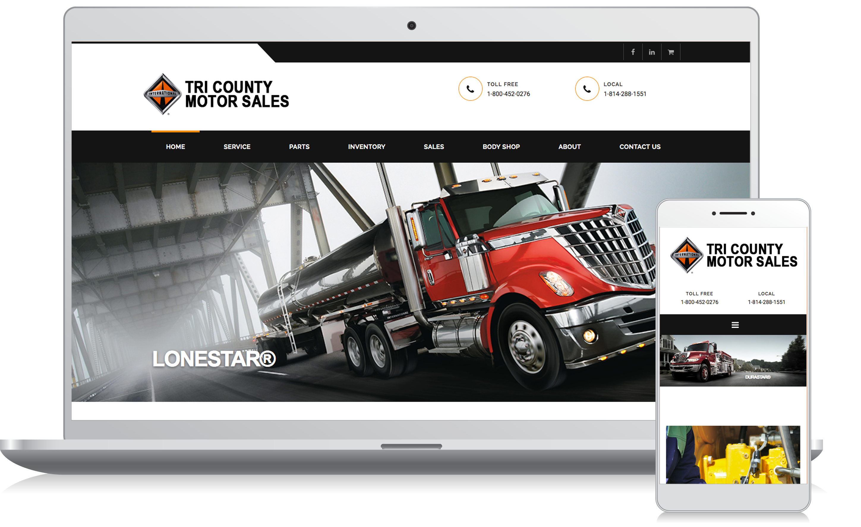 Cellphone and computer image of the Tri County Motor Sales website homepage