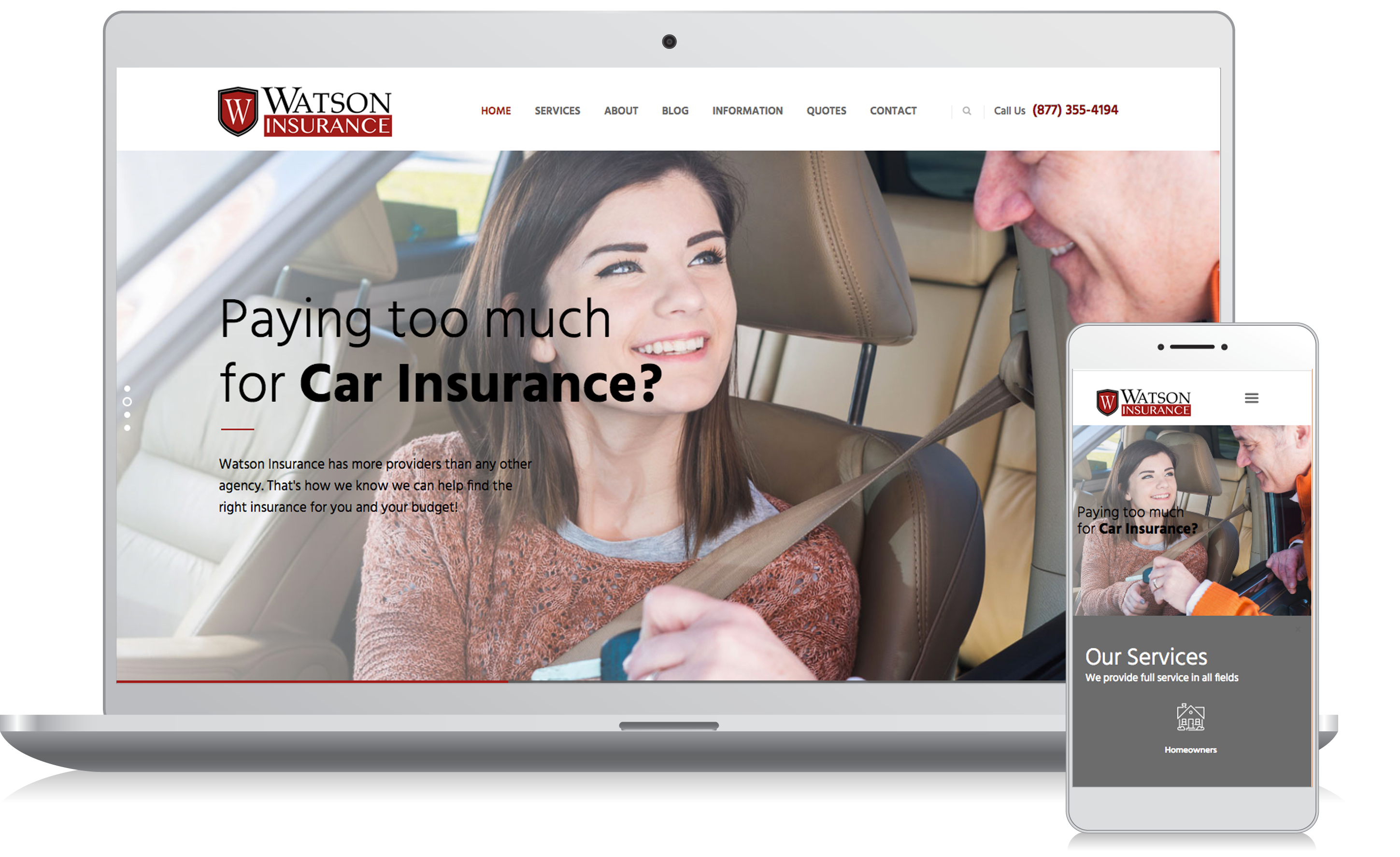 Cellphone and computer image of the Watson Insurance website homepage